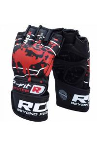 Перчатки для ММА RDX Grappling Gloves Blood Double Strap Black