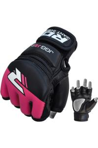 Детские перчатки для MMA RDX Kids Leather-X Grappling Black/Pink